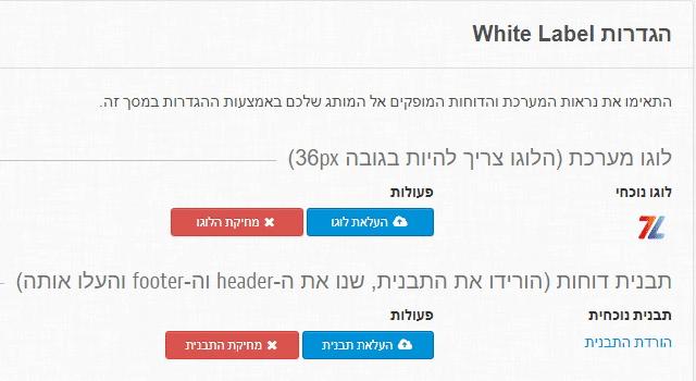 זפו - הגדרות דוח ממותג (White Label)