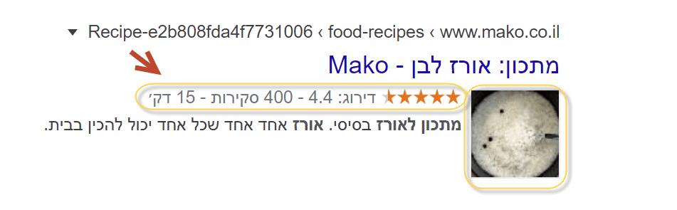 תוצאה עשירה של מתכון באתר מאקו